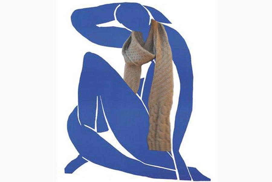 pull paille sur nu de Matisse bleu