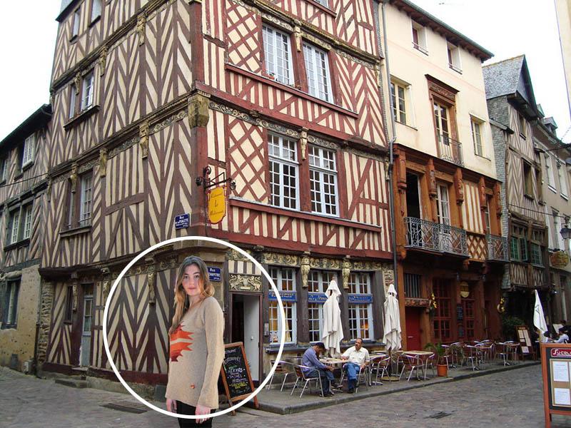 pull seigle à Rennes devant maison à colombages