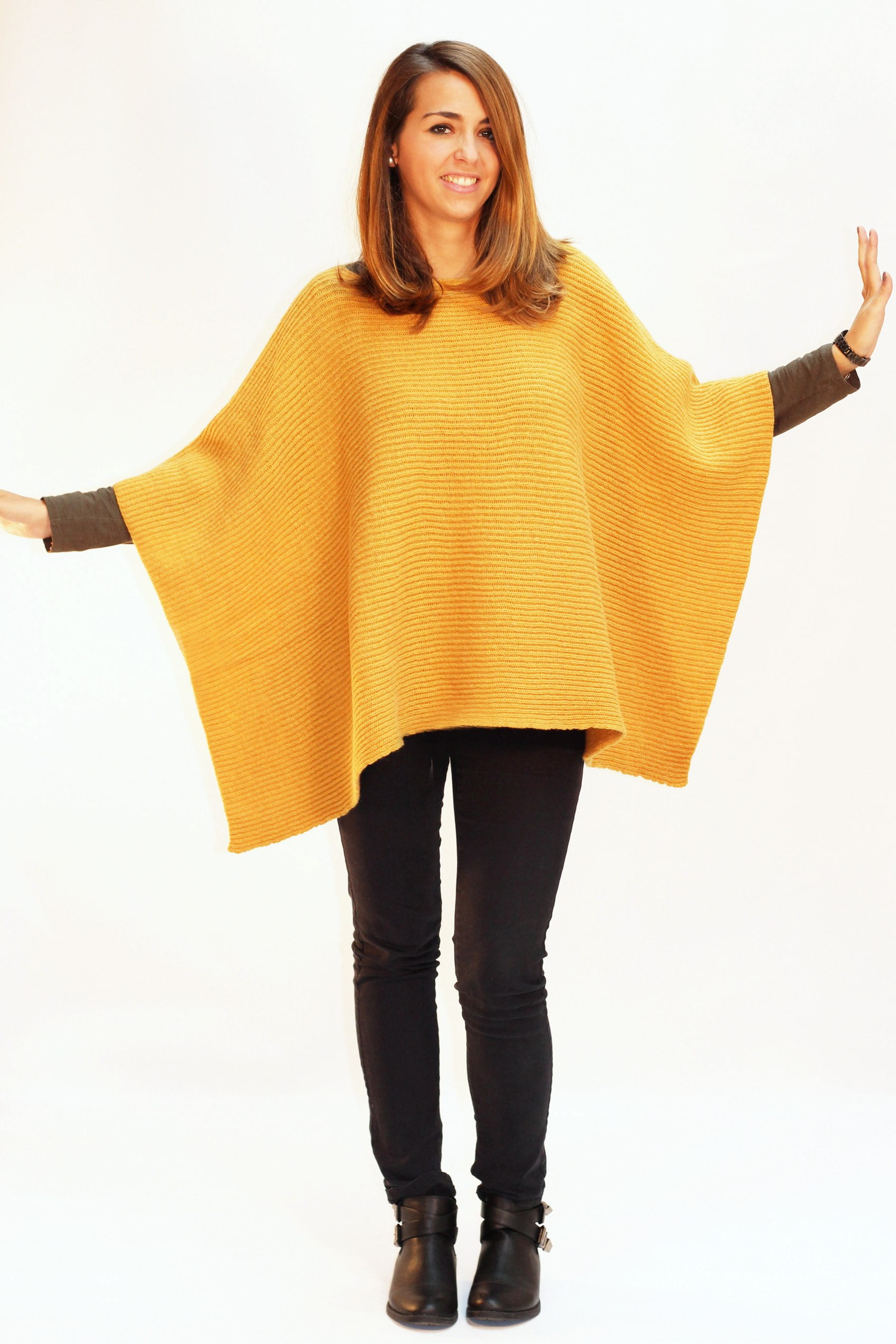 poncho jaune moutarde