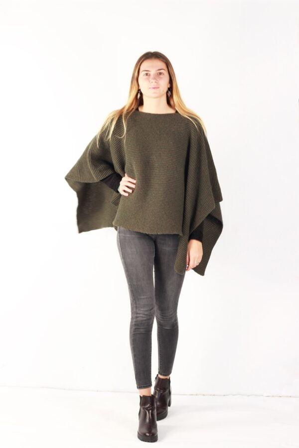 poncho laine recyclée